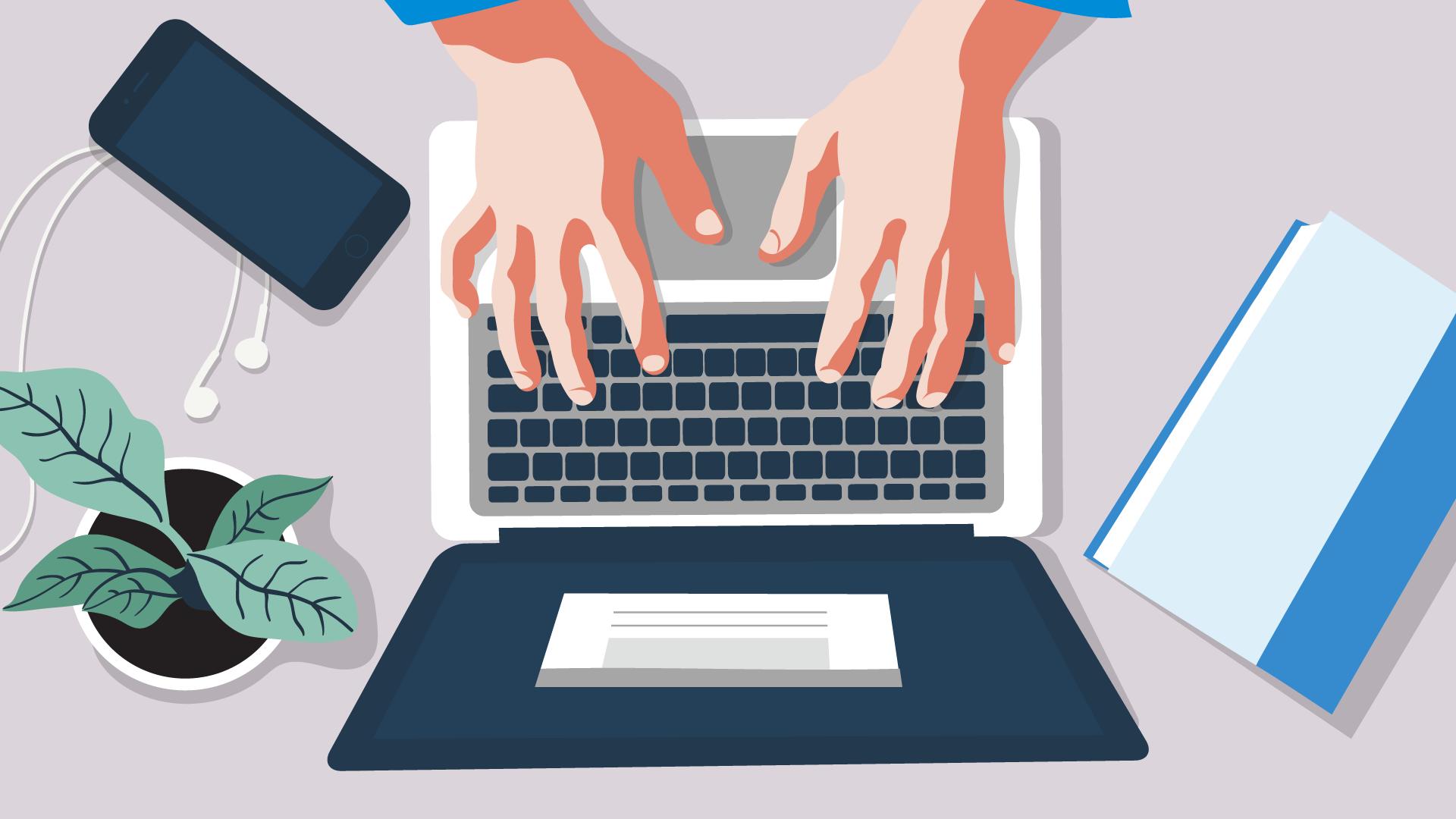 Draufsicht auf einen Laptop mit Anzeige des Einkommensteuerrechners von Kontist.