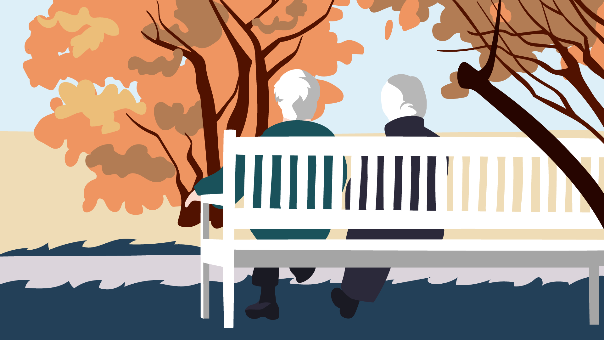 Pärchen auf einer weißen Parkbank sitzend, spricht über die Senkung der gesetzlichen Krankenkassen-Beiträge für Selbständige.
